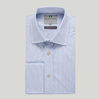 Sky Small Check Double Cuff Classic Shirt