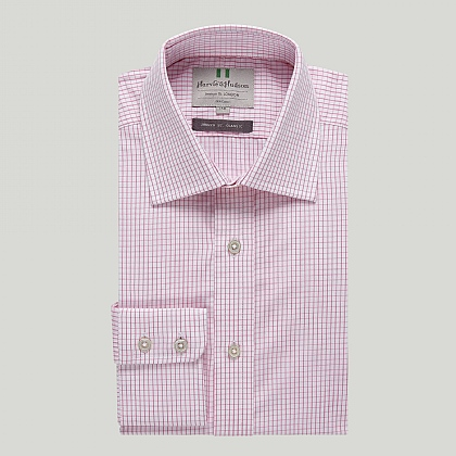 Pink Graph Check Button Cuff Classic Shirt