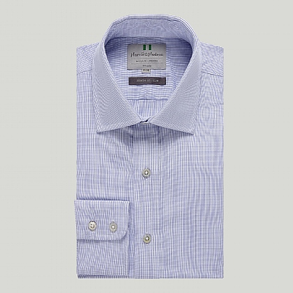 Blue Small Check Button Cuff Slim Shirt