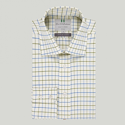 Blue and Olive Green Check Button Cuff Classic Shirt