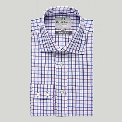 Blue and Purple Check Button Cuff Country Shirt
