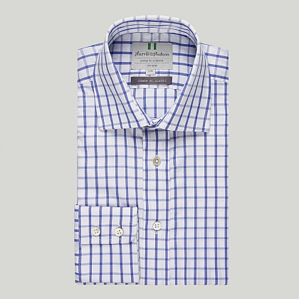 Navy and Blue Check Button Cuff Country Shirt