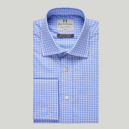 Blue and White Check Double Cuff Classic Shirt