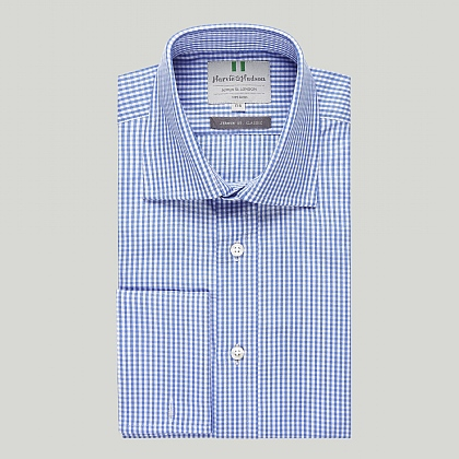 Blue Gingham Check Double Cuff Classic Shirt