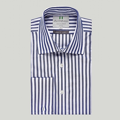 Navy and White Stripe Double Cuff Classic Shirt