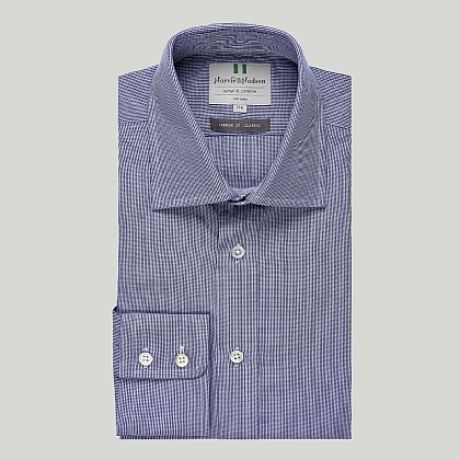 Navy Mini Check Button Cuff Classic Shirt