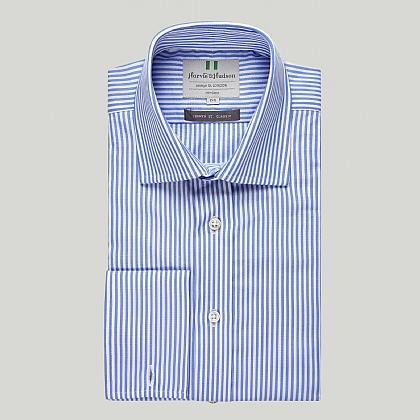 Blue and White Stripe Double Cuff Classic Shirt