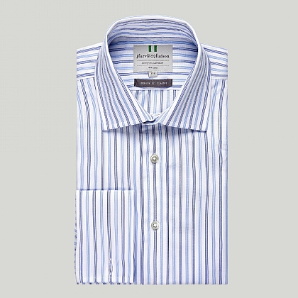 White with Blue and Navy Stripes Double Cuff Classic Shirt