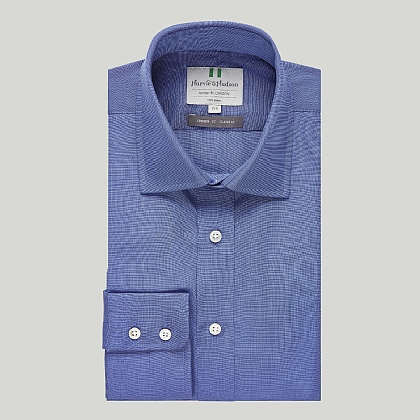 Indigo and Blue Plain Button Cuff Classic Shirt