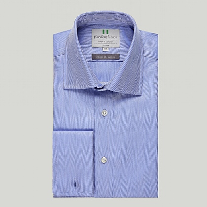 Blue Herringbone Double Cuff Shirt
