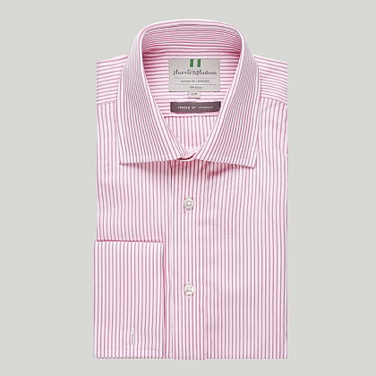 Pink and White Stripe Double Cuff Classic Shirt