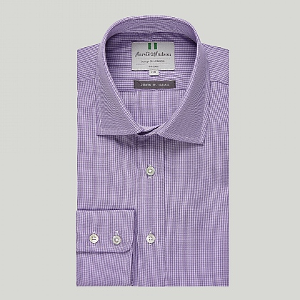 Lilac Mini Check Button Cuff Classic Shirt