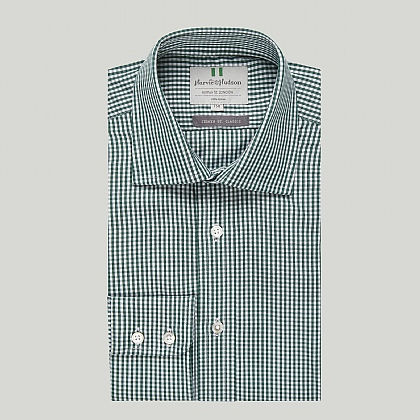 Green and White Check Button Cuff Classic Shirt