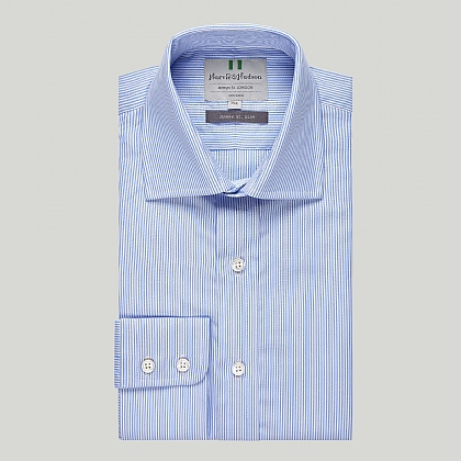 Light Blue Stripe Button Cuff Slim Shirt
