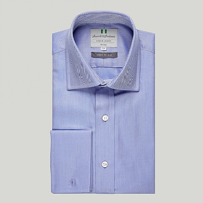Blue Herringbone Double Cuff Slim Shirt