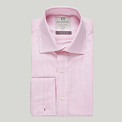 Pink and White Stripe Double Cuff Slim Shirt