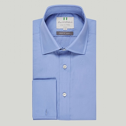 Pacific Blue Plain Double Cuff Classic Shirt