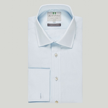 Ice Blue Plain Double Cuff Classic Shirt