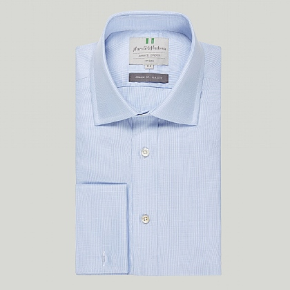 Blue Prince of Wales Check Double Cuff Classic Shirt