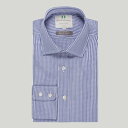 Navy Gingham Check Button Cuff Classic Shirt