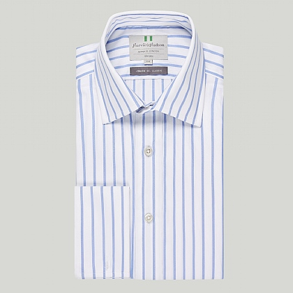 Sky Wide Stripe Double Cuff Classic Shirt