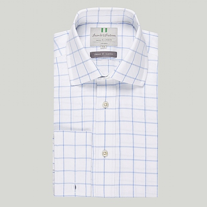 Sky Windowpane Check Double Cuff Classic Shirt