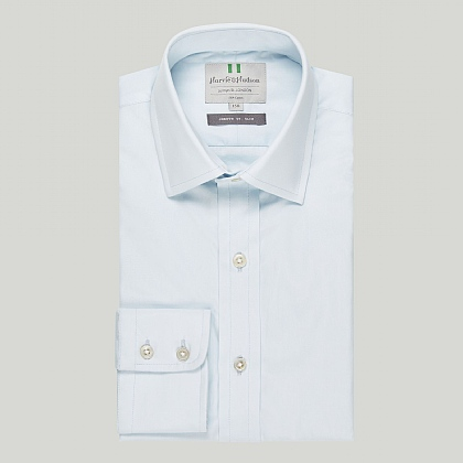 Ice Blue Plain Button Cuff Slim Shirt