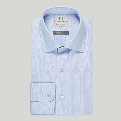 Blue Prince of Wales Check Button Cuff Slim Shirt