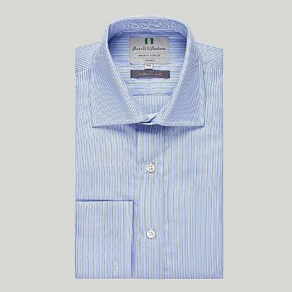 Blue Pencil Stripe Double Cuff Slim Shirt