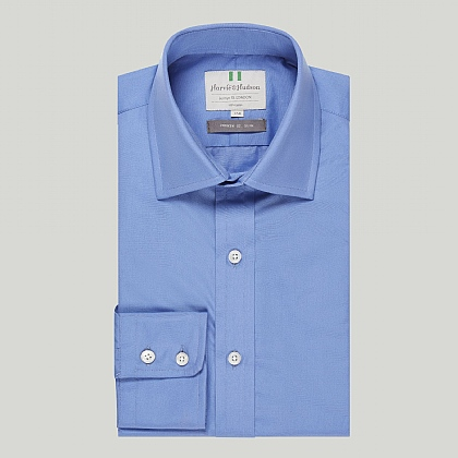 Pacific Blue Plain Button Cuff Slim Shirt