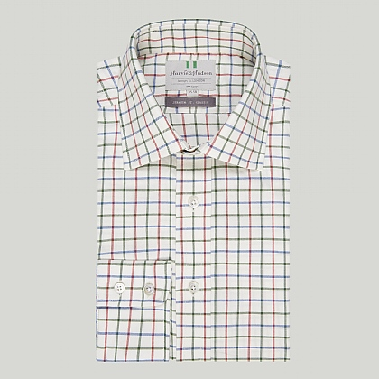 Green and Red Country Check Button Cuff Classic Shirt