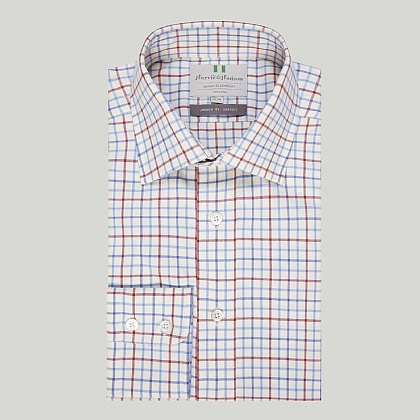 Blue and Red Country Check Button Cuff Classic Shirt