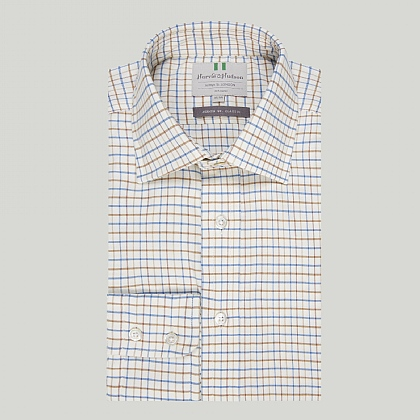 Blue and Brown Country Check Button Cuff Classic Shirt
