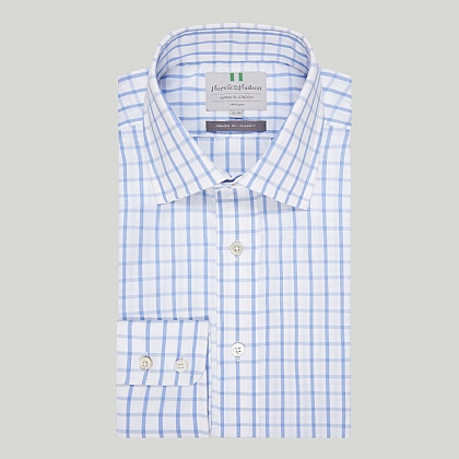 Sky Wide Check Button Cuff Classic Shirt