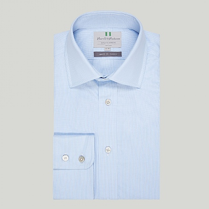 Sky Mini Check Button Cuff Classic Shirt