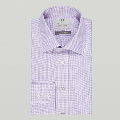 Lilac Houndstooth Check Button Cuff Classic Shirt