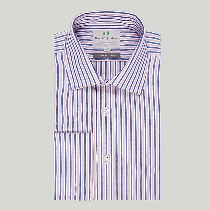 Navy and Pink Stripe Double Cuff Classic Shirt