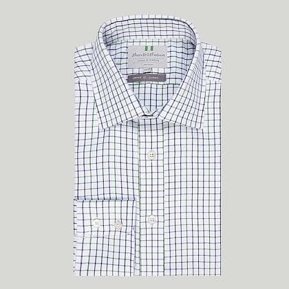 Navy and Green Check Button Cuff Classic Shirt