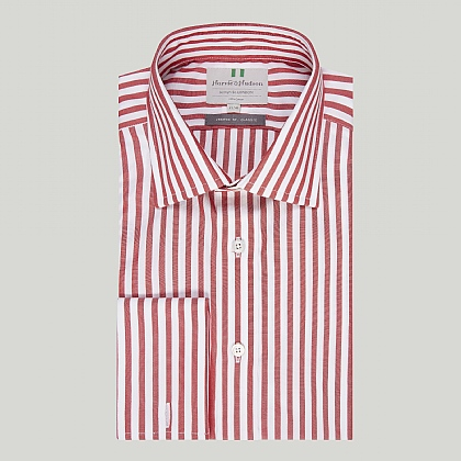 Red Bold Stripe Double Cuff Classic Shirt