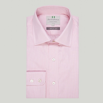 Pink Mini Check Button Cuff Slim Shirt