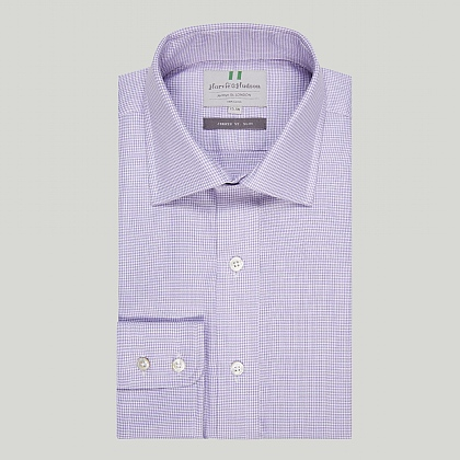 Lilac Houndstooth Check Button Cuff Slim Shirt