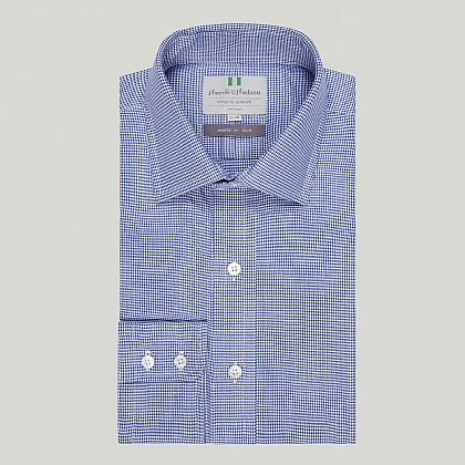 Navy Houndstooth Check Button Cuff Slim Shirt