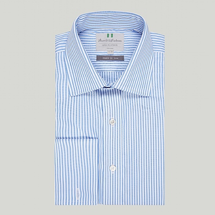 Blue Bengal Stripe Double Cuff Slim Shirt
