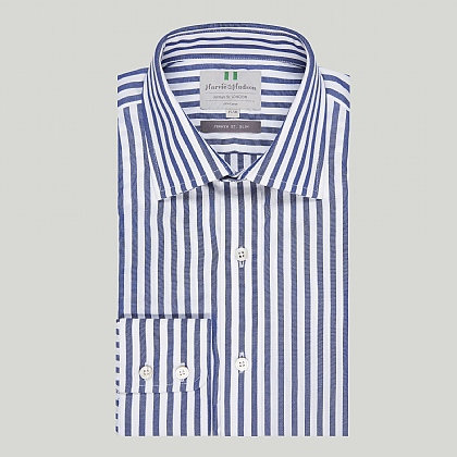 Navy and White Stripe Button Cuff Slim Shirt
