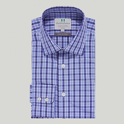 Blue and Sky Check Button Cuff Classic Shirt