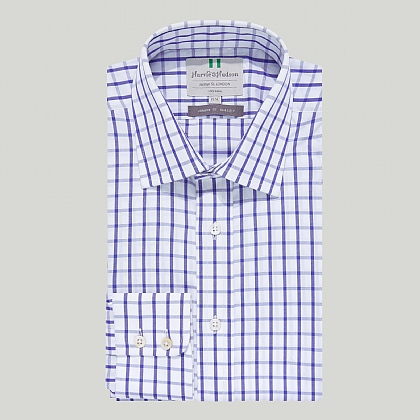 Blue Large Check Button Cuff Classic Shirt