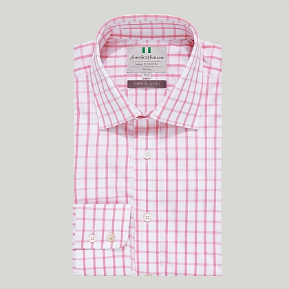 Pink Large Check Button Cuff Classic Shirt