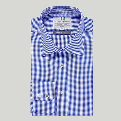 Sky Gingham Check Button Cuff Classic Shirt