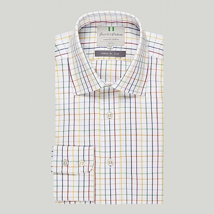 Multi Colour Check Button Cuff Slim Shirt
