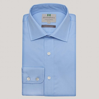 Azure Plain Poplin Button Cuff Shirt